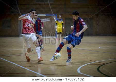 VALENCIA, SPAIN - FEBRUARY 7: (L) Piqueras, (R) Tripodi during Spanish King Cup match between Levante UD FS and Elpozo Murcia at Cabanyal Stadium on February 8, 2017 in Valencia, Spain