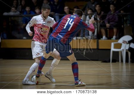 VALENCIA, SPAIN - FEBRUARY 7: (L) Campos, (R) Sena during Spanish King Cup match between Levante UD FS and Elpozo Murcia at Cabanyal Stadium on February 8, 2017 in Valencia, Spain