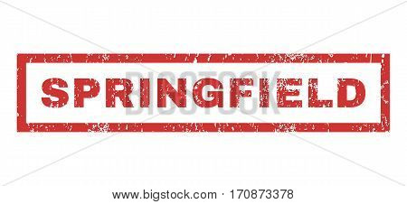 Springfield text rubber seal stamp watermark. Tag inside rectangular shape with grunge design and dust texture. Horizontal vector red ink emblem on a white background.