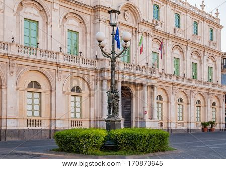 The Streetlight In The Background Building Of The University In Catania