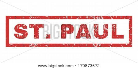 St.Paul text rubber seal stamp watermark. Caption inside rectangular banner with grunge design and scratched texture. Horizontal vector red ink sticker on a white background.