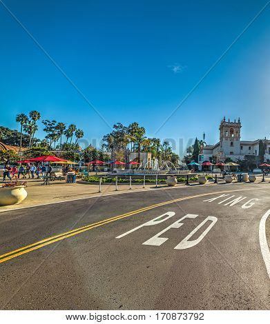a road by Balboa Park in California