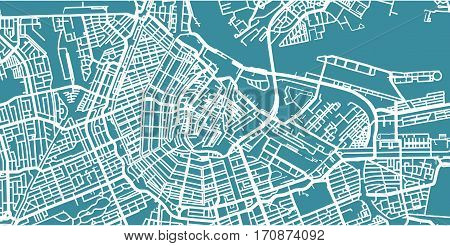 Detailed vector map of Amsterdam, scale 1:30 000, Netherlands