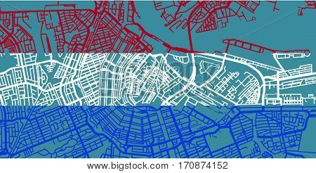 Detailed vector map of Amsterdam based on national flag of Netherlands, scale 1:30 000, Netherlands