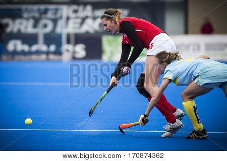 VALENCIA, SPAIN - FEBRUARY 11: Bianca Strubbe with ball during Hockey World League Round 2 semifinal match between Ukraine and Poland at Betero Stadium on February 11, 2017 in Valencia, Spain