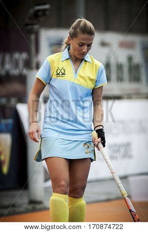 VALENCIA, SPAIN - FEBRUARY 11: Maryna Khilko during Hockey World League Round 2 semifinal match between Ukraine and Poland at Betero Stadium on February 11, 2017 in Valencia, Spain