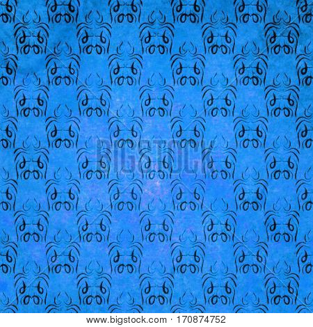 abstract colored scratched damask grunge background - blue