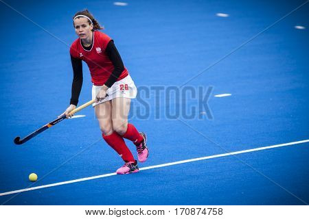 VALENCIA, SPAIN - FEBRUARY 11: Karolina Grochowalska during Hockey World League Round 2 semifinal match between Ukraine and Poland at Betero Stadium on February 11, 2017 in Valencia, Spain
