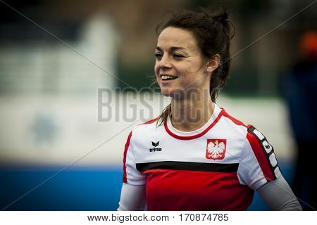 VALENCIA, SPAIN - FEBRUARY 11: Marlena Rybacha during Hockey World League Round 2 semifinal match between Ukraine and Poland at Betero Stadium on February 11, 2017 in Valencia, Spain