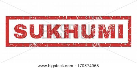 Sukhumi text rubber seal stamp watermark. Tag inside rectangular shape with grunge design and scratched texture. Horizontal vector red ink sign on a white background.