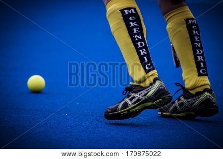 VALENCIA, SPAIN - FEBRUARY 11: Ukrainian player during Hockey World League Round 2 semifinal match between Ukraine and Poland at Betero Stadium on February 11, 2017 in Valencia, Spain