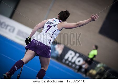 VALENCIA, SPAIN - FEBRUARY 11: Amy Brodie during Hockey World League Round 2 semifinal match between Spain and Scotland at Betero Stadium on February 11, 2017 in Valencia, Spain