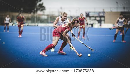 VALENCIA, SPAIN - FEBRUARY 11: Xantal Gine with ball during Hockey World League Round 2 semifinal match between Spain and Scotland at Betero Stadium on February 11, 2017 in Valencia, Spain