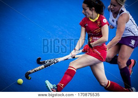 VALENCIA, SPAIN - FEBRUARY 11: Marta Grau during Hockey World League Round 2 semifinal match between Spain and Scotland at Betero Stadium on February 11, 2017 in Valencia, Spain