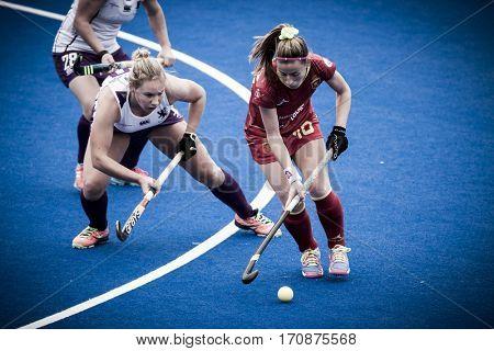 VALENCIA, SPAIN - FEBRUARY 11: (R) Berta Bonastre during Hockey World League Round 2 semifinal match between Spain and Scotland at Betero Stadium on February 11, 2017 in Valencia, Spain