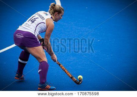 VALENCIA, SPAIN - FEBRUARY 11: Kareena Cuthbert during Hockey World League Round 2 semifinal match between Spain and Scotland at Betero Stadium on February 11, 2017 in Valencia, Spain