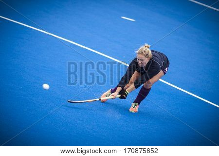 VALENCIA, SPAIN - FEBRUARY 11: Scotish player during Hockey World League Round 2 semifinal match between Spain and Scotland at Betero Stadium on February 11, 2017 in Valencia, Spain