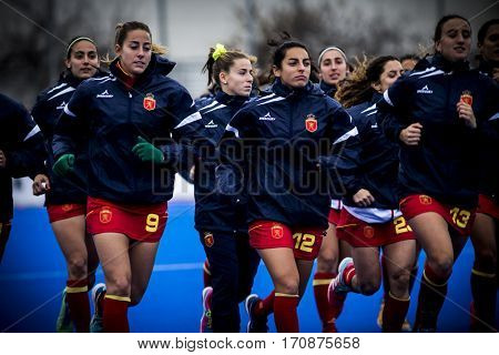 VALENCIA, SPAIN - FEBRUARY 11: Spanish players during Hockey World League Round 2 semifinal match between Spain and Scotland at Betero Stadium on February 11, 2017 in Valencia, Spain