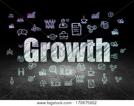 Business concept: Glowing text Growth,  Hand Drawn Business Icons in grunge dark room with Dirty Floor, black background