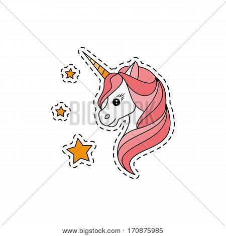 Unicorn. Fashion patch badges. Sticker, pin, patch in cartoon 80s-90s comic style. Vector illustration isolated on white background.