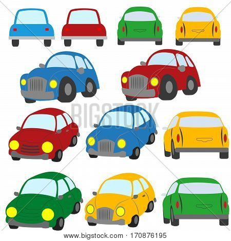 A Set Of Colorful Cars Painted In The Style Of The Toy On A White Background.