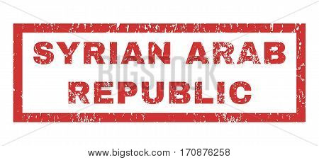 Syrian Arab Republic text rubber seal stamp watermark. Tag inside rectangular shape with grunge design and unclean texture. Horizontal vector red ink sign on a white background.