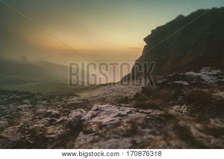 Mountainous Landscape of England in Morning Frost