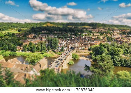 Scenic Historic Town at Bright Sunny Day in UK