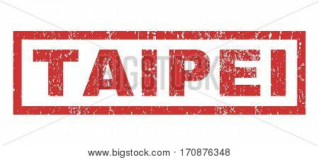 Taipei text rubber seal stamp watermark. Caption inside rectangular shape with grunge design and dirty texture. Horizontal vector red ink emblem on a white background.