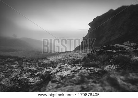 Hilly Landscape of England in Morning Frost Black and White