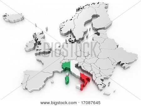3d rendering of a map of Europe with Italy selected