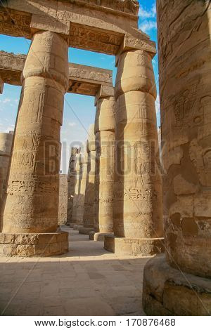 Colonnade In Karnak Temple