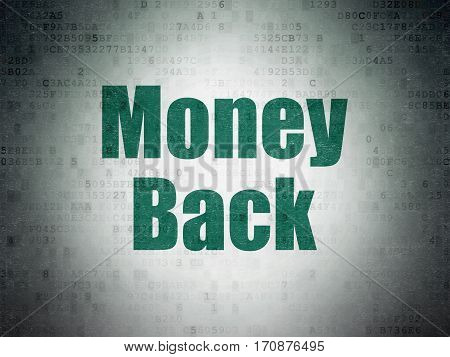 Finance concept: Painted green word Money Back on Digital Data Paper background