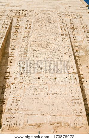 Hieroglyphs In Medinet Habu Temple