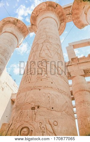 High Column In Karnak Temple
