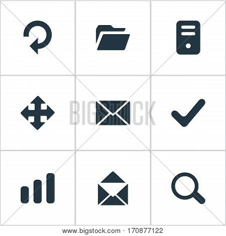 Set Of 9 Simple Application Icons. Can Be Found Such Elements As Envelope, Check, Dossier And Other.