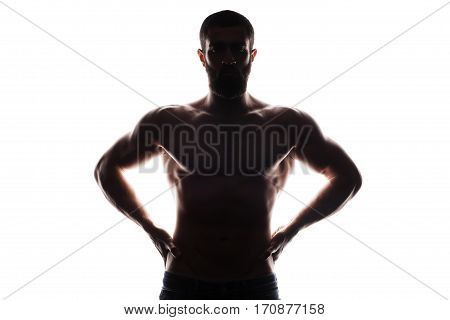 Silhouette of young athlete bodybuilder man isolated over white background