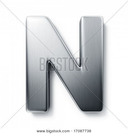 3d rendering of the letter N in brushed metal on a white isolated background.