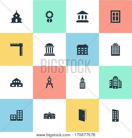 Set Of 16 Simple Architecture Icons. Can Be Found Such Elements As Reward, Booth, Flat And Other.