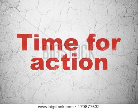 Timeline concept: Red Time For Action on textured concrete wall background