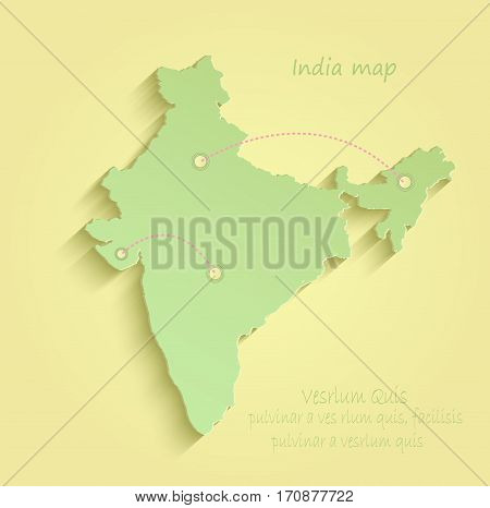 India map yellow green vector template indian