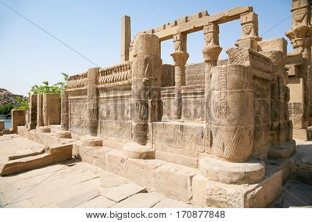 Ruins Colonnade In Philae Temple