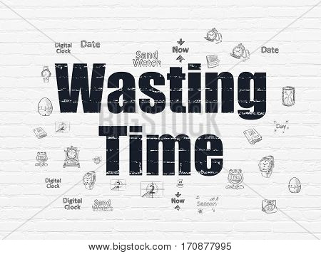 Time concept: Painted black text Wasting Time on White Brick wall background with  Hand Drawing Time Icons