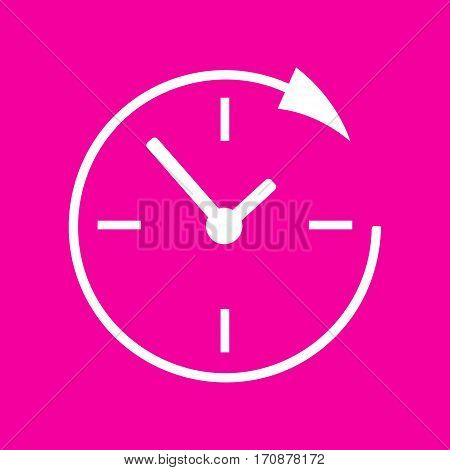 Service and support for customers around the clock and 24 hours. White icon at magenta background.