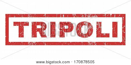 Tripoli text rubber seal stamp watermark. Tag inside rectangular banner with grunge design and scratched texture. Horizontal vector red ink sign on a white background.