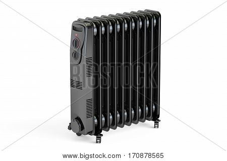 Black electric oil heater oil-filled radiator. 3D rendering isolated on white background