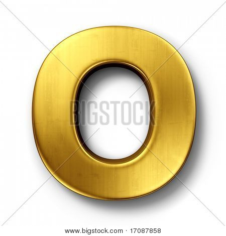 3d rendering of the letter O in gold metal on a white isolated background.
