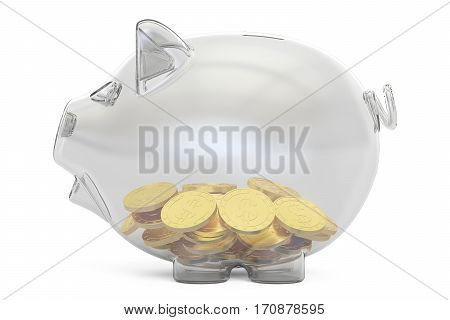 glass piggy bank with golden coins 3D rendering isolated on white background