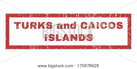 Turks and Caicos Islands text rubber seal stamp watermark. Tag inside rectangular banner with grunge design and scratched texture. Horizontal vector red ink sticker on a white background.