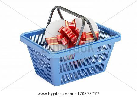 Valentine's Day concept. Shopping basket with gift box 3D rendering isolated on white background